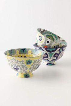 hand painted.   bowls.   pastel.