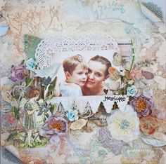 """Scraps of Elegance kit club - layout created by Evgenia Petzer with the """"Yesterdays"""" kit Scrapbook Pages, Scrapbooking, Scrapbook Layouts, Image Layout, Note Cards, Kit, Elegant, Canvas, Frame"""
