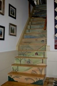 """A """"Vertical Mural""""? Yes! Painted on canvas by folk artist, Lisa Curry Mair, at Canvasworks Designs."""