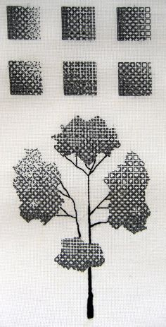 After finishing the two fill-in samplers from Beginner's Guide to Blackwork I decided to press onward in my self-education. Here are my attempts: This was my first attempt at manipulating blackwork...