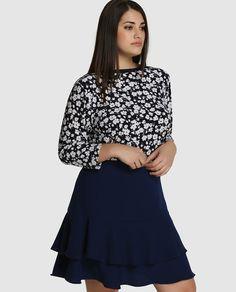 Falda corta de mujer talla grande Lauren Woman con cierre lateral