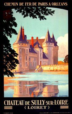 FRENCH CASTLE VINTAGE TRAVEL POSTER Chateau de Loire 3