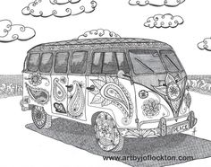 Hippie VW Bus adult colouring