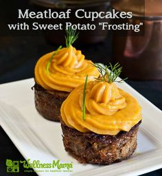 Meatloaf Cupcakes With Sweet Potato Frosting- weird but I think we all might just love this!