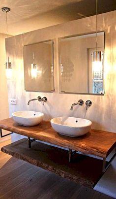 50 Amazing Farmhouse Bathroom Vanity Decor Ideas 39 – Home Design Farmhouse Bathroom Sink, Bathroom Vanity Designs, Rustic Bathroom Designs, Rustic Bathroom Vanities, Rustic Bathrooms, Modern Bathroom, Small Bathroom, Bathroom Ideas, Bathroom Sinks