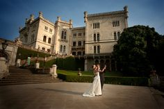 Couple dancing at Miramare Castle. Wedding Photography. By Janine Mapurunga. Trieste, Italy 2010.