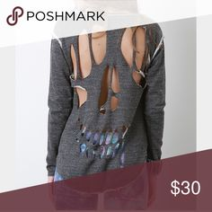 Skull cut out sweater Grey sweater with a skull cut out in the back Tops Sweatshirts & Hoodies