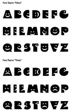 i like how theres two typefaces, one with happy faces and one with sad faces. You could chose which one to use based on the mood of the word.