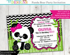 Panda Party Invitation  First Birthday Invite  1st  Black