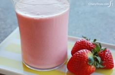 Healthy strawberry oatmeal smoothie with yogurt and honey