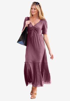 ellos Women's Plus Size Gauze Maxi Dress - Fabulous Market Plus Size Womens Clothing, Plus Size Fashion, Clothes For Women, Size Clothing, Clothing Ideas, Plus Size Maxi Dresses, Plus Size Outfits, Gauze Dress, Stylish Plus
