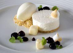 Lemon Mousse with Blueberry and Meringue.   http://www.theritzlondon.com/Dinner-Restaurant.html