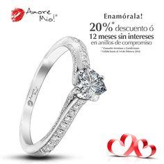 97db406f497e Amore Mio! ANILLOS DE COMPROMISO · Anillo de Oro Blanco 18kt Diamante-  Corazón de 0.44 quilates. Color- G