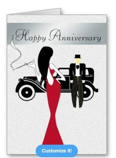 Chic Anniversary Card http://www.zazzle.com/cardsnsuch?rf=238623693837530845