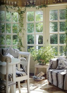 bring the indoors out and the outdoors in (rustic porches enclosed)