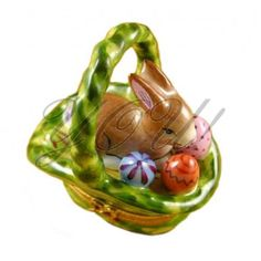 Limoge Porcelain Box, Rabbit Basket/Easter Eggs at YOU! Boutiques #limoge #porcelain #rabbit #easter #bunny #holidays