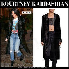 Kourtney Kardashian in black velvet coat and ripped jeans