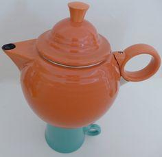 Orange Enamel Fiesta Vintage Tea Kettle Tea Pot by CafeChaCha, $24.00