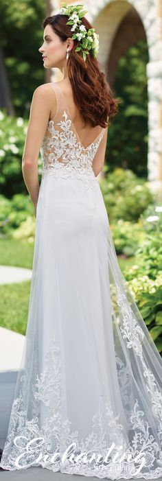 Enchanting by Mon Cheri Spring 2017 Wedding Gown Collection - Style No. 117191 - sleeveless chiffon wedding dress with lace bodice and illusion midriff