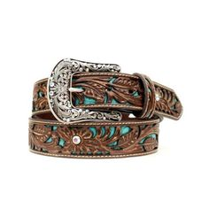 Manufacturer: Ariat Style#: A1513402 Description: Ready to ride, cowgirl! This women's Ariat belt from M&F; Western features genuine leather, tooled turquoise inlay, rhinestones and a decorative silve
