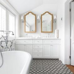 White Bathroom with Gold Vanity Mirrors, Transitional, Bathroom