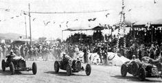 Coppa Ciano 1931 . An Alfa Romeo , car #58 is  a Bugatti T51 of Achile Varzi , car #60 is a Maserati 8C 2800 of  Luigi Fagiolli