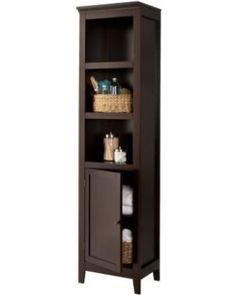 Bring the perfect mix of style and function to your home with the Carson Narrow Bookcase with Door from Threshold™. The top three shelves let you displa Narrow Bookshelf, 3 Shelf Bookcase, Bookshelves, Horizontal Bookcase, Laundry Room Storage, Bathroom Storage, Home Office Furniture, Bathroom Furniture, Furniture Storage
