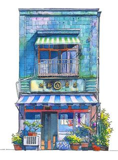 This is a watercolor interpretation of a storefront; this reference can be useful specifically for visual development and a cleanly executed portrayal with a white background allows the viewer to focus on the details without any other elements. Watercolor Illustration, Watercolor Art, Watercolor Japan, Japan Illustration, Art Sketches, Art Drawings, Arte 8 Bits, Watercolor Architecture, Building Art