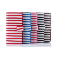 Stripe Line Wallet Leather Case Cover For Samsung Galaxy S6 Edge