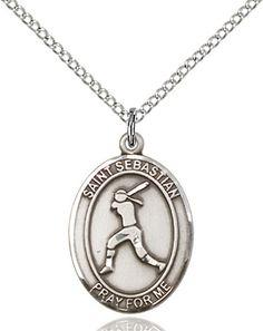 St. Sebastian / Softball Pendant (Sterling Silver) by Bliss | Catholic Shopping .com