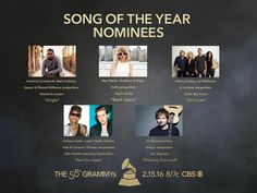 Congrats #GRAMMYs Song Of The Year nominees! Kendrick Lamar, Taylor Swift, Little Big Town, Wiz Khalifa feat. Charlie Puth, and Ed Sheeran