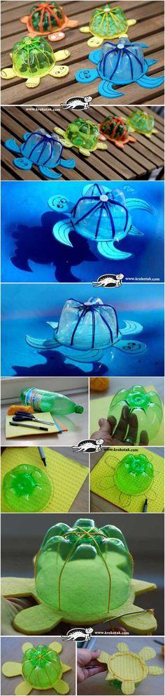 Tortuguitas nadadoras. Si batallas con el tema de las mascotas, tus hijos amarán estas tortugas hechas de botellas de plástico recicladas y foami. Checa cómo hacerlas aquí.