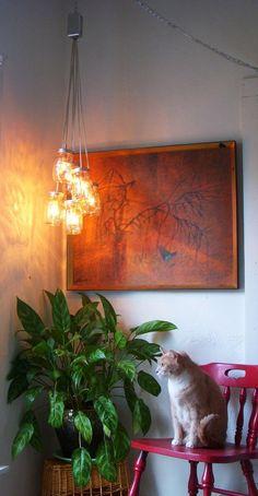 Day Glow - Mason Jar Chandelier Hanging Pendant Lighting Fixture - Rustic Industrial UpCycled Repurposed BootsNGus Lamp Design. $130.00, via Etsy.