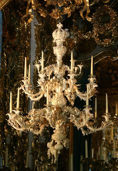 Ivory chandelier in Linderhof Palace, built by King Ludwig II in southwest Bavaria beginning in 1869. Fascinating information at site.