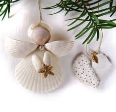 Angel with Starfish and Heart Ornament Set by SeasAndSeasons