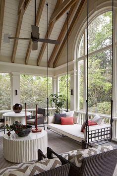 Outdoor Rooms, Outdoor Living, Outdoor Decor, Screened In Porch, Porch Swing, Interior Design Atlanta, Interior Ideas, Interior Decorating, Daybed Design