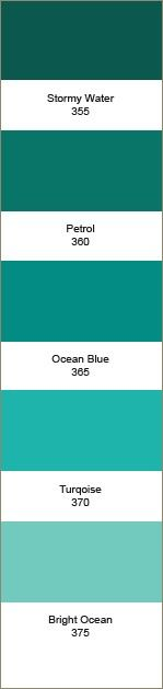 Colors i like: kleurenstrook 355-375 355 Stormy Water 360 Petrol 365 Ocean Blue 370 Turqoise 375 Bright Ocean