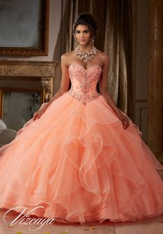 Gemstone and Crystal Beading on Flounced Organza Ball Gown #89115CR - Joyful…