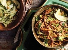 Chicken Street Noodles with Basil Cucumber Salad - Publix Aprons Simple Meals Asian Recipes, Healthy Recipes, Ethnic Recipes, Asian Foods, Chinese Recipes, Chinese Food, Healthy Meals, Yummy Recipes, Recipes