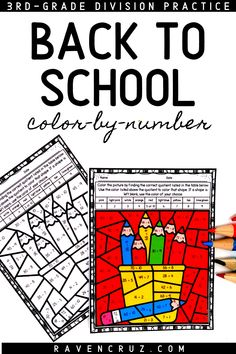 Ring in the new school year with these back-to-school division color by number worksheets. Use the division worksheets for 3rd-grade and 4th-grade students to practice division facts 1-10. #mathwithraven Fourth Grade Math, First Grade Math, Math Rotations, Math Centers, School Date, Elementary Math, Kindergarten Math, Common Core Math Standards, Math Division