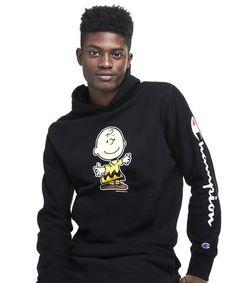 70eed97b439e (M) Champion X Peanuts Charlie Brown Hoodie in Black Mens Fashion Blog, Best