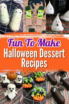 Halloween Desserts are a must for this fun holiday! Most of these Halloween dessert recipes are no-bake and easy to decorate into a spooktacular Halloween treat! Enjoy creating and serving one or more of these fun Halloween desserts for parties or send them to school with the kids! Halloween Desserts, Halloween Party Treats, Fun Desserts, Dessert Recipes, Halloween Fun, Delicious Desserts, Easy Homemade Recipes, Holiday Fun, Holiday Ideas