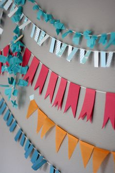 DIY party garlands: links to tutorials...washi tape garland, paper chain, cupcake liner scallop garland, sewn dot garland