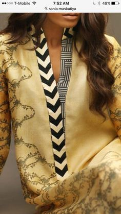 the neckline detail Neck Designs For Suits, Sleeves Designs For Dresses, Neckline Designs, Dress Neck Designs, Blouse Designs, Stylish Dress Designs, Stylish Dresses, Fashion Dresses, Churidar Designs