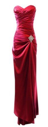 Gorgeous draped satin gown with diagonal pintucks, crystal pin accent, small train in back, chiffon scarf.