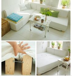 DIY mattress sectional use XL twin mattresses and upholster the