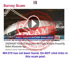 Survey Scam - 'Malaysian Air Flight MH-370 Found By Sailor'