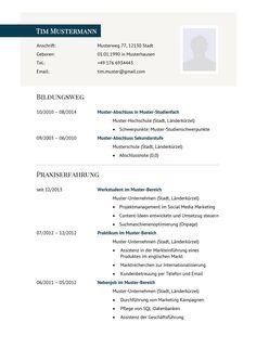 Lebenslauf Muster Vorlage 29 Manager 1