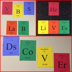 Scientific Element Spellouts for VBS Agency D3 lab crafts