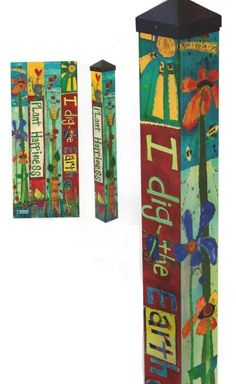 Carolina Creations | Peace Pole 3 Foot Plant Happiness Art Pole PP226 | Fine Art Contemporary Gift Gallery